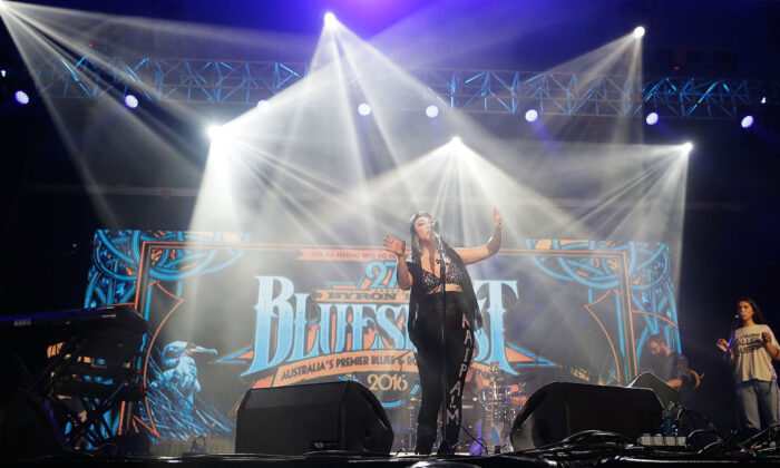 Nai Palm From Hiatus Kaiyote performs live for fans at the 2016 Byron Bay Bluesfest in Byron Bay, Australia on March 24, 2016. (Mark Metcalfe/Getty Images)