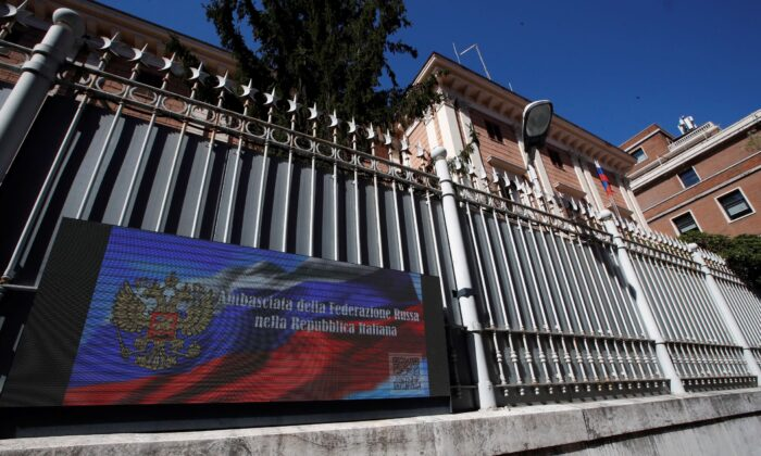 A view of the Russian Embassy in Rome, Italy, on March 31, 2021. (Alessandra Tarantino/AP Photo)