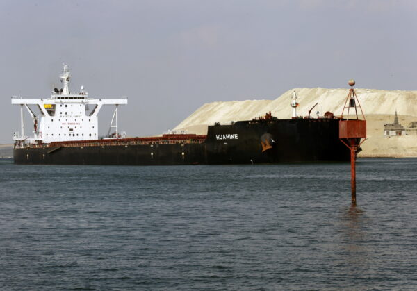 Ships sailing on the Suez Canal