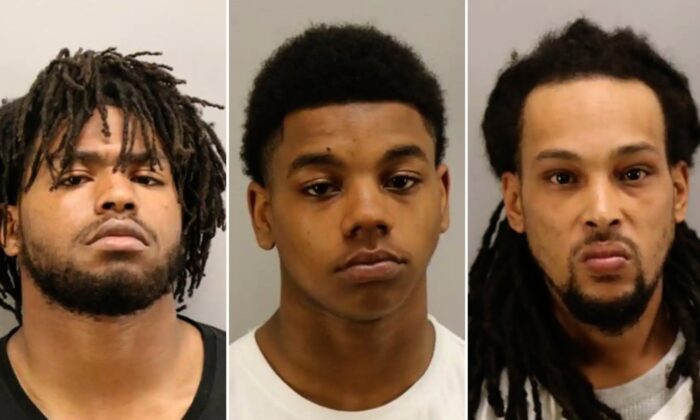From left: Jhaimeek Kerion Carter, 18; Tyereis Smith, 18; and Gerald Scott Thomas II, 35 in a booking photo. (Courtesy of the Virginia Beach Police Department)