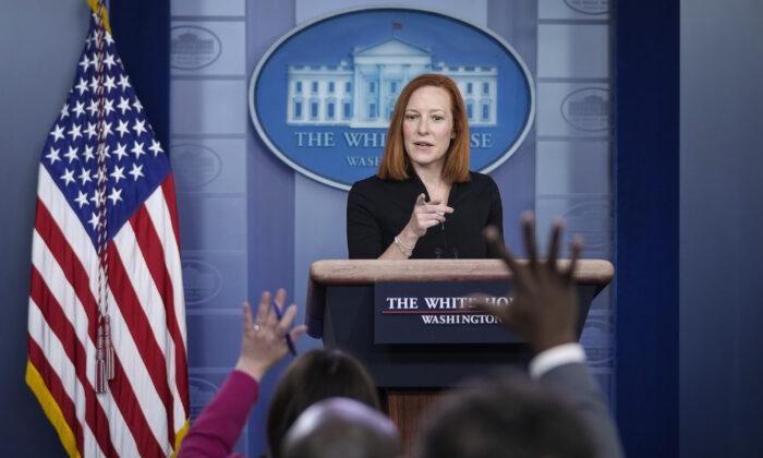 White House press secretary Jen Psaki speaks during the daily press briefing at the White House on March 30, 2021.  (Drew Angerer/Getty Images)