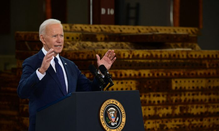 President Joe Biden speaks in Pittsburgh, on March 31, 2021.   JIM WATSON/AFP via Getty Images