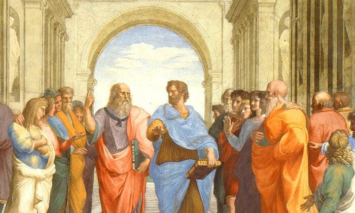 """Detail of """"School of Athens"""" Raphael c. 1511, Vatican Museum (public domain)"""
