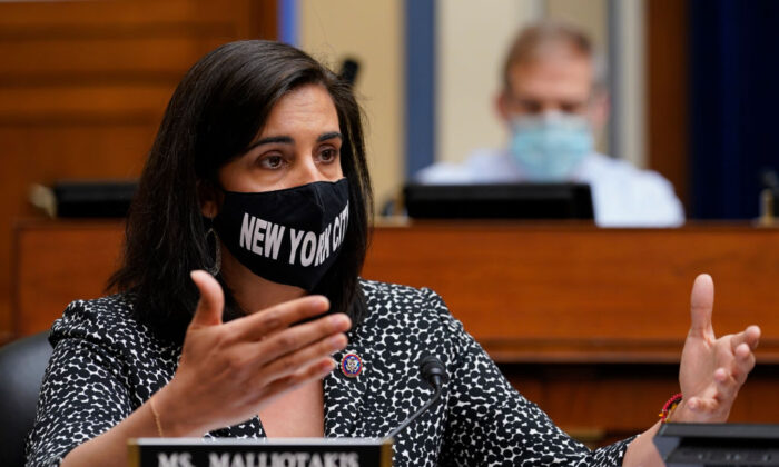 Rep. Nicole Malliotakis (R-N.Y.) speaks during a House Select Subcommittee on the Coronavirus Crisis hearing  on Capitol Hill in Washington, on April 15, 2021. (Susan Walsh-Pool/Getty Images)