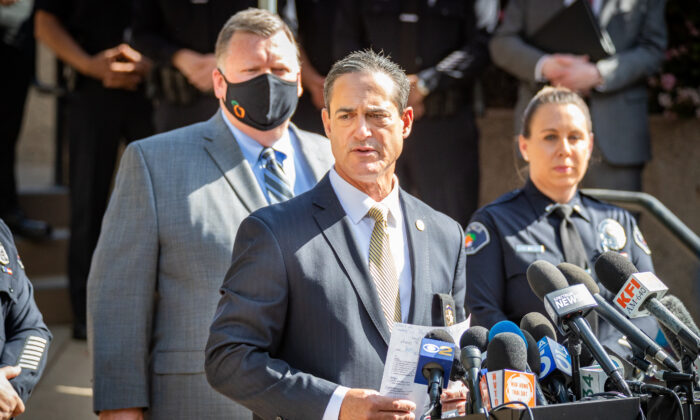 Orange County District Attorney Todd Spitzer shares information about a shooting in Orange, Calif., on April 1, 2021. (John Fredricks/The Epoch Times)