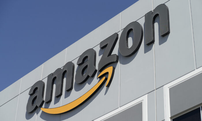 A sign is seen on an Amazon Fulfillment Center, in North Las Vegas, Nev., on March 31, 2021. (John Locher/AP Photo)