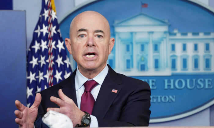 Homeland Security Secretary Alejandro Mayorkas speaks during a press briefing at the White House in Washington on March 1, 2021. (Kevin Lamarque/Reuters)