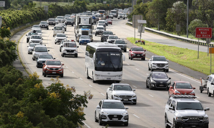 Heavy traffic heads south at Yatala, ahead of the Easter long weekend and after the three-day COVID lockdown in Brisbane, Australia on April 1, 2021. (Jono Searle/Getty Images)