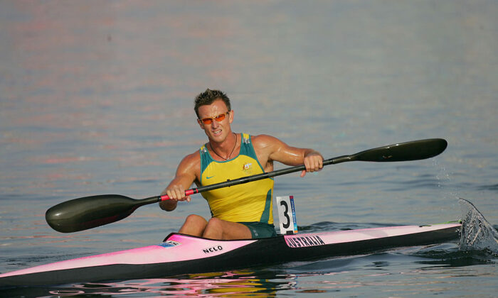 Nathan Baggaley of Australia competes during the men's K-1 class 1,000 metre final on August 27, 2004 during the Athens 2004 Summer Olympic Games at the Schinias Olympic Rowing and Canoeing Centre in Athens, Greece. (Stuart Franklin/Getty Images)