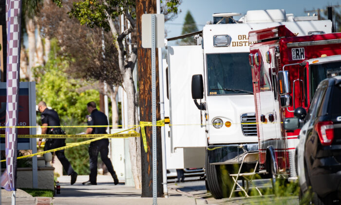 Police investigate the scene of a shooting in Orange, Calif., on April 1, 2021. (John Fredricks/The Epoch Times)