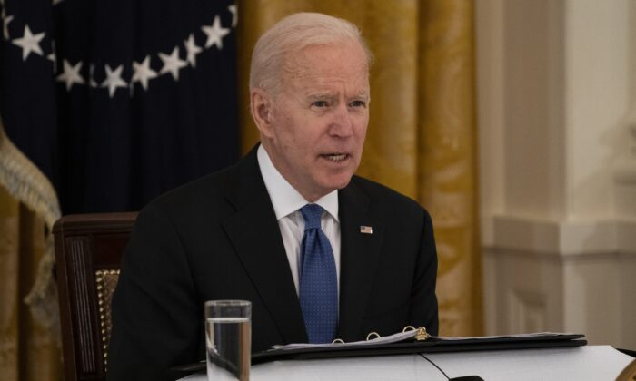 President Joe Biden speaks during a Cabinet meeting in the East Room of the White House in Washington on April 1, 2021. (Evan Vucci/AP Photo)