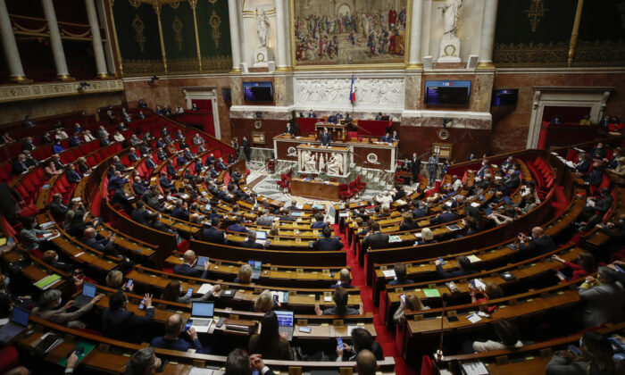 General view of the French parliament during a debate on the new COVID-19 measures at the National Assembly in Paris, Thursday, April 1, 2021. (Michel Euler/AP Photo)