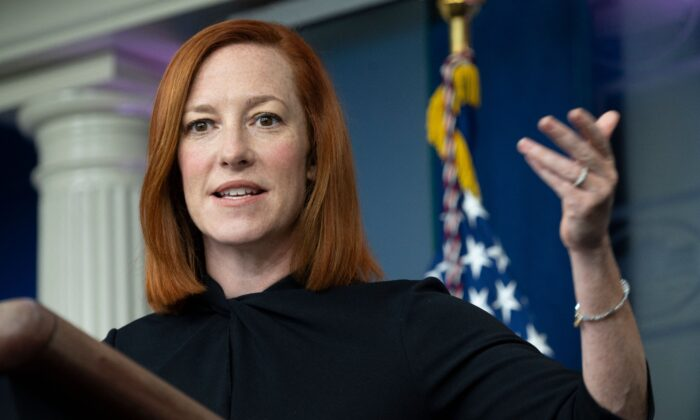 White House press secretary Jen Psaki speaks to reporters in Washington on April 1, 2021. (Andrew Caballero-Reynolds/AFP via Getty Images)