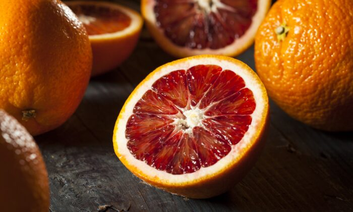 Blood oranges, with their distinctively rich orange flavor and raspberry overtones, give the classic grapefruit and avocado salad a fresh update. (Brent Hofacker/shutterstock)
