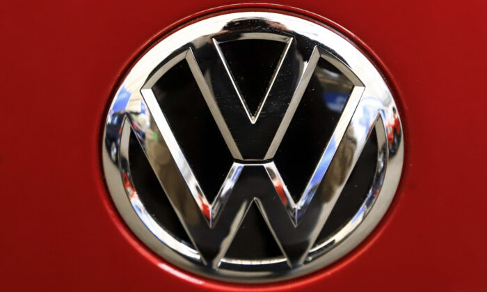The Volkswagen logo on an automobile at the 2019 Pittsburgh International Auto Show in Pittsburgh, Pa., on Feb. 14, 2019. (Gene J. Puskar/AP Photo)