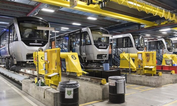 Montreal Metro cars are shown at a maintenance garage.  (Graham Hughes/The Canadian Press)