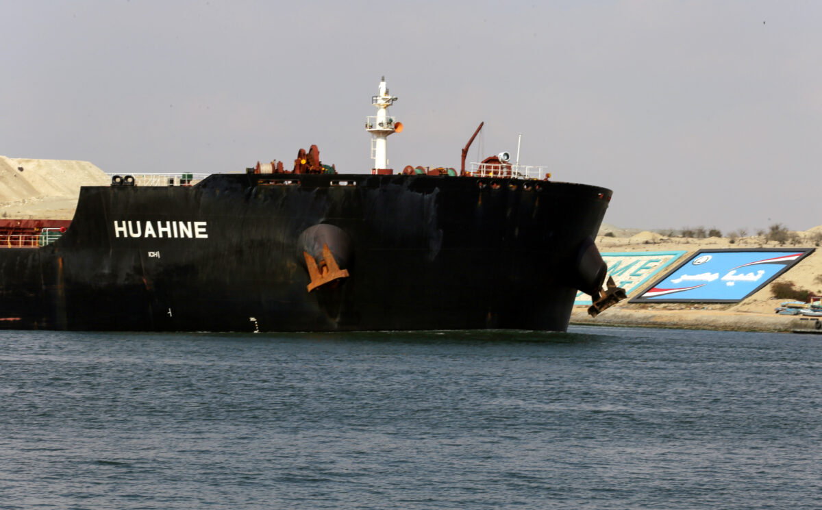 A ship is seen after sailing through Suez Canal