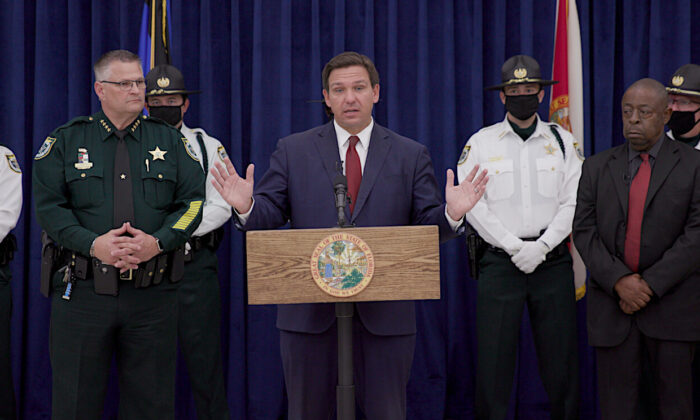 Governor Ron DeSantis speaks at a press conference in Brevard County, FL. on April 1, 2021. (The Epoch Times)