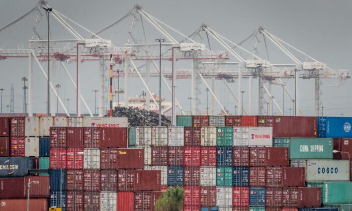 Shipping containers are stacked at Southampton Docks in Southampton, England on Nov. 20, 2018. (Matt Cardy/Getty Images)