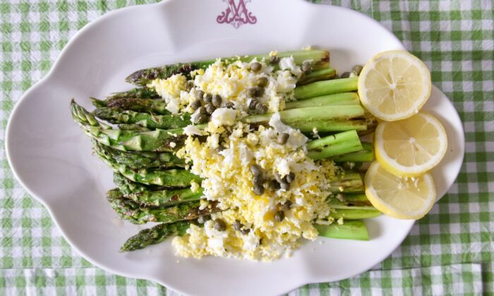 Lightly browned and topped with a tried-and-true garnish, this is a simple and classic preparation for thick asparagus. (Victoria de la Maza)