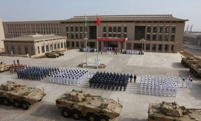 Chinese People's Liberation Army personnel attending the opening ceremony of China's new military base in Djibouti on Aug. 1, 2017. (AFP via Getty Images)