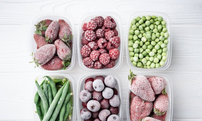 Frozen fruits and vegetables are picked and frozen when they're in sea- son, which can cost less than buying out- of-season produce. (SerPhoto/Shutterstock)
