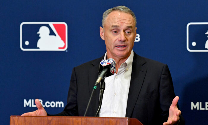 Baseball commissioner Robert Manfred Jr. answers questions from the media during spring training media day at the Glendale Civic Center in Glendale, Ariz., on Feb 19, 2019. (Jayne Kamin-Oncea/USA Today Sports)