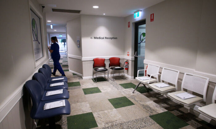 The COVID-19 vaccine clinic waiting room is prepared for the arrival of clients at Sydney Road Family Medical Practice in Sydney, Australia, on March 23, 2021. (Lisa Maree Williams/Getty Images)