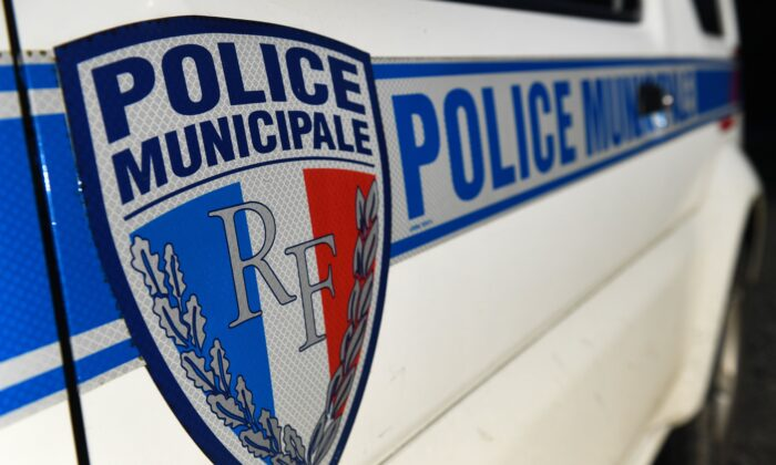 A French Police Municipale (municipal police) logo on a police car in Plougastel-Daoulas, western France, on Jan. 21, 2020. (Fred TanneauAFP via Getty Images)