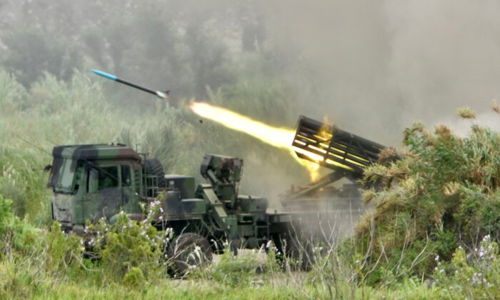 A projectile is launched from a Taiwanese-made Thunderbolt-2000 multiple rocket system during the annual Han Kuang military drills in Taichung, Taiwan, on July 16, 2020. (Sam Yeh/AFP via Getty Images)