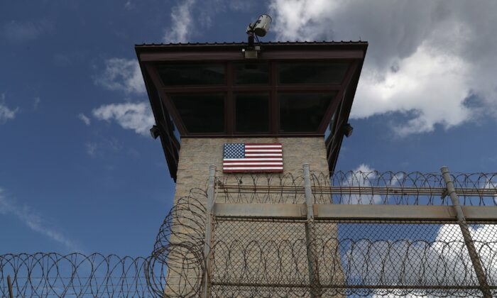 "A guard tower stands at the entrance of the U.S. prison at Guantanamo Bay, also known as ""Gitmo"", at the U.S. Naval Station at Guantanamo Bay, Cuba,  on Oct. 23, 2016. (John Moore/Getty Images)"