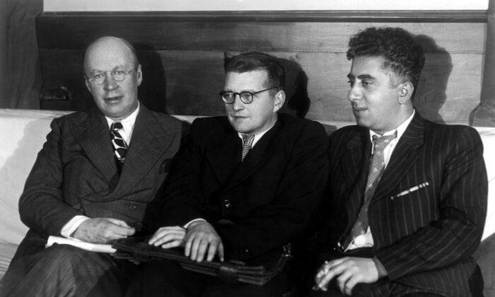 Soviet-era composers: (L–R)  : Sergei Prokofiev, Dmitri Shostakovich, Aram Khachaturian, in  1946. (Public Domain)
