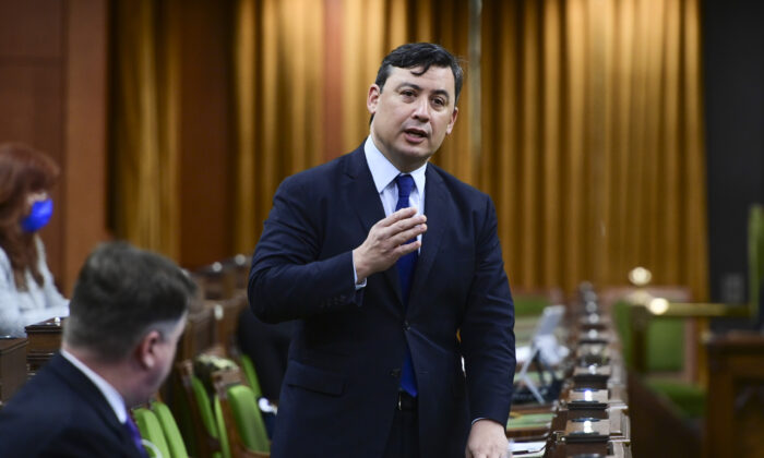 Conservative MP Michael Chong rises during question period in the House of Commons on March 26, 2021. (Sean Kilpatrick/The Canadian Press)