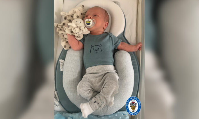 Undated photo released by the West Midlands Police showing Ciaran Leigh Morris, a two-week-old baby killed after his pram was hit by a car on April 4, 2021. (West Midlands Police)