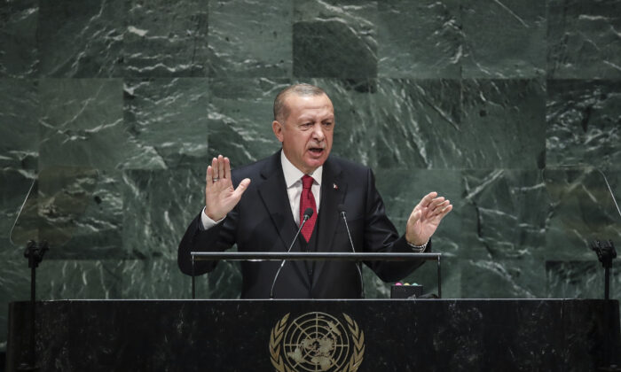 President of Turkey Recep Tayyip Erdogan addresses the United Nations General Assembly at UN headquarters on Sept. 24, 2019, in New York City where he criticized the international community for not taking up the cause of Kashmir. (Drew Angerer/Getty Images)