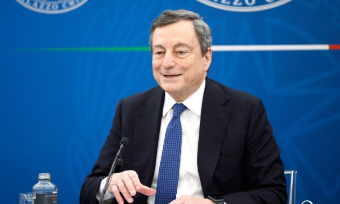 Italy's Prime Minister, Mario Draghi speaks during a press conference in Rome amid the COVID-19 coronavirus pandemic on March 26, 2021. (Alessandra Tarantino/POOL/AFP via Getty Images)