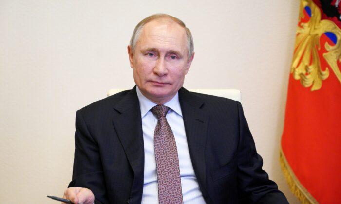 Russian President Vladimir Putin at the Novo-Ogaryovo state residence outside Moscow on March 31, 2021. (Sputnik/Alexei Druzhinin/Kremlin via Reuters)