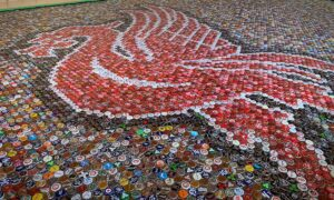 Liverpool Fan Creates Liver Bird Floor Mosaic out of 25,000 Beer Bottle Caps for Bar Floor