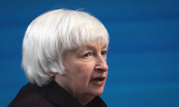 Treasury Secretary Janet Yellen speaks during a virtual event in Washington, on Feb. 5, 2021. (Drew Angerer/Getty Images)