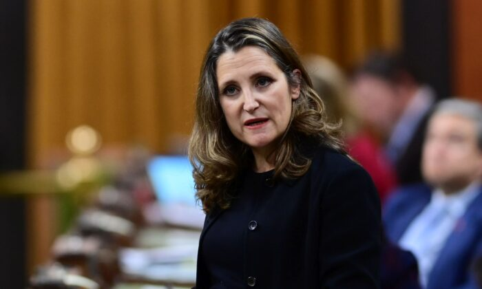 Finance Minister Chrystia Freeland delivers the 2020 fiscal update in the House of Commons on Nov. 30, 2020. (The Canadian Press/Sean Kilpatrick)