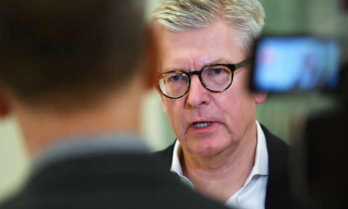 CEO of Swedish telecom giant Ericsson Borje Ekholm answers journalists' questions after presenting the company's fourth quarter and 2019 full year result at the Ericsson headquarters in Stockholm, Sweden, on Jan. 24, 2020. (Fredrik Sandberg/TT News Agency/AFP via Getty Images)