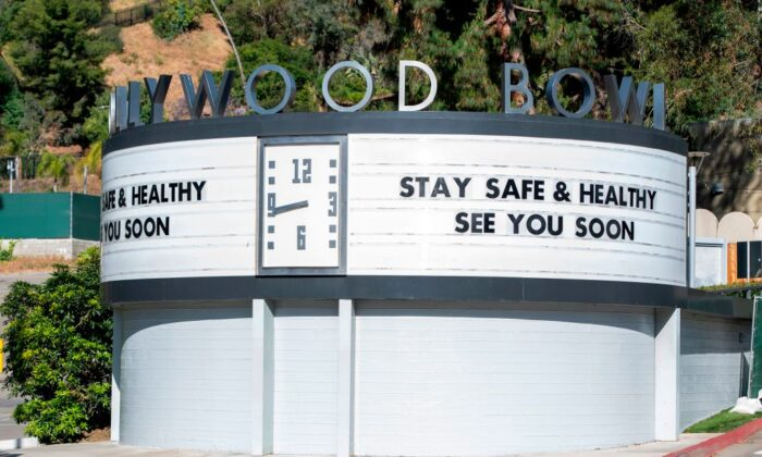 The entrance to the Hollywood Bowl in Los Angeles on May 14, 2020. (Valerie Macon/AFP via Getty Images)