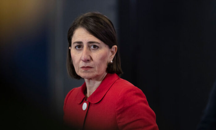 NSW Premier Gladys Berejiklian speaks at a press conference  (Brook Mitchell/Getty Images)