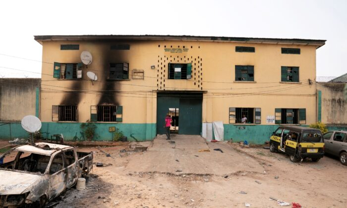 The Nigerian Correctional Services facility that was attacked by gunmen is seen in Imo State, Nigeria, on April 5, 2021. (David Dosunmu/Handout via Reuters)