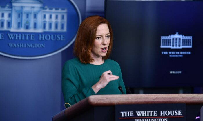 White House press secretary Jen Psaki speaks during the daily press briefing in the Brady Briefing Room of the White House in Washington on April 6, 2021. (Brendan Smialowski/AFP via Getty Images)