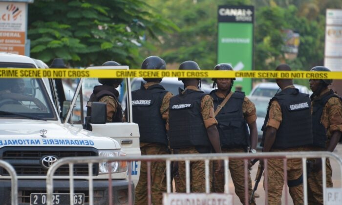 Burkinabe police patrol in Ouagadougou, Burkina Faso in a file photo. (Ahmed Ouoba/AFP via Getty Images)