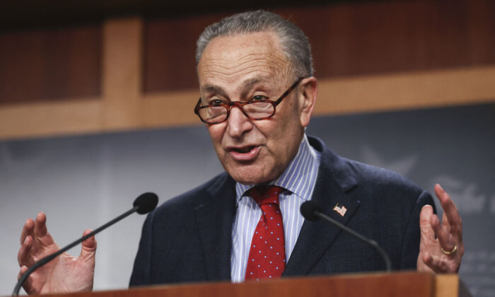 Senate Majority Leader Chuck Schumer (D-N.Y.) at a news conference on Capitol Hill in Washington, on March 25, 2021. (Jonathan Ernst/POOL/AFP via Getty Images)
