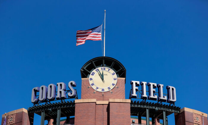 A general view of the clock tower at Coors Field before the Opening Day game between the Colorado Rockies and the Los Angeles Dodgers in Denver, Colo., on April 1, 2021. (Isaiah J. Downing/USA TODAY Sports)