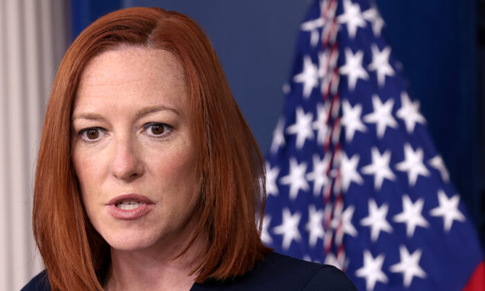 White House press secretary Jen Psaki speaks to reporters at the White House in Washington on April 5, 2021. (Win McNamee/Getty Images)