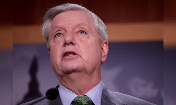 Sen. Lindsey Graham (R-SC) speaks during a press conference at the U.S. Capitol in Washington on March 24, 2021. (Win McNamee/Getty Images)